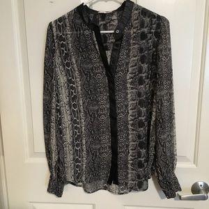 sheer snake skin long sleeve blouse